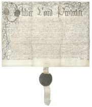 CROMWELL (OLIVER) Document in his name 'inrolled at Westminster before Oliver St. John & his asso...