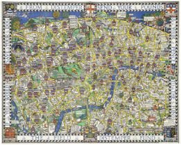 LONDON - 'WONDERGROUND MAP' [GILL (MACDONALD) The Wonderground Map of London], Printed by The Wes...