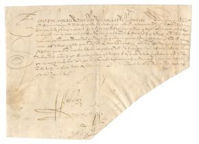 HENRI IV OF FRANCE Order signed ('Henry'), to the treasurer of the exchequer M. Estienne, Fontai...