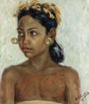 Anatole Shister (Russian, 1884-1961) Indonesian lady with gold earrings