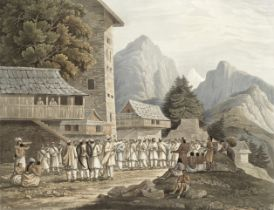 James Baillie Fraser (British, 1783-1856) 'Assemblage of Hillmen'; with 2 further views hand-colo...