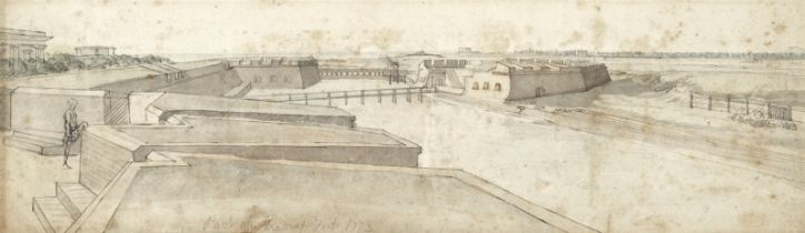 English School, 18th century An architectural study of Fort St. George, Madras (unframed)
