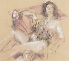 Antonio Blanco (Filipino, 1912-1999) Reclining female nude with peacock feather
