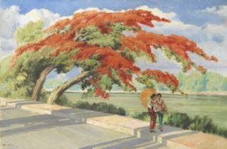 Raden Basoeki Abdullah (Indonesian, 1915-1993) Two women walking beneath a flamboyant