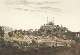 After Henry Salt (British, 1780-1827) 'A View of Lucknow' hand-coloured aquatint by D. Havell aft...