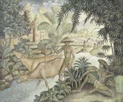 Ketut Djodjol (Indonesian, born 1940) Returning home from the paddy field