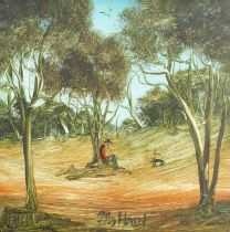 Kevin Charles (Pro) Hart (Australian, 1928-2006) Lone figures in the Outback, a pair (2)