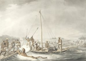 After Thomas Williamson (1758-1817) and Samuel Howett (British, 1765-1822) 'Killing Game in Boats...