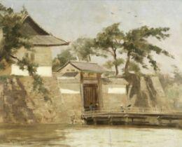 John Varley Jnr. (British, 1850-1933) A Japanese city wall and gate