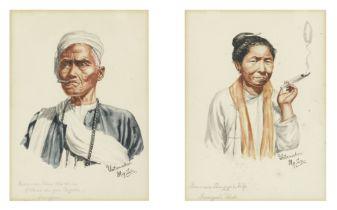Maung Su Yatanabon (Burmese, 1903-1965) Four portraits of Burmese sitters including a priest, eld...