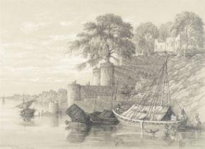 Col. George Francis White (British, 1808-1898) 'Ghaut at Binderchund near Mirapoor, R Ganges'