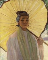Sir Gerald Festus Kelly RA, KCVO, PRA (British, 1879-1972) 'Ma-Thein-Kin, with her Yellow Parasol'