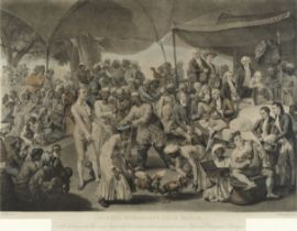 After Johann Joseph Zoffany (British, 1733-1810) 'Colonel Mordaunt's Cock Match. At Lucknow in th...
