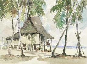 Yong Mun Sen (Chinese, 1896-1962) A beach hut (unframed)