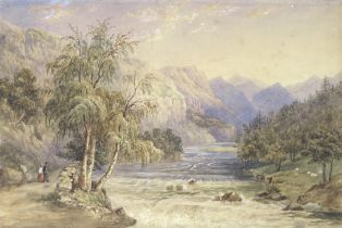 Continental School, late 19th century A mountain landscape, believed to be New Zealand mounted bu...