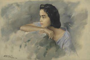 Raden Basoeki Abdullah (Indonesian, 1915-1993) Portrait of an Indonesian girl