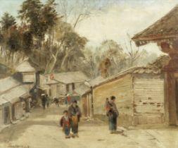 John Varley Jnr. (British, 1850-1933) A street scene in Japan