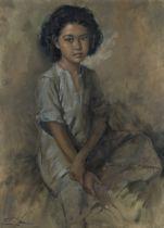 Raden Basoeki Abdullah (Indonesian, 1915-1993) Portrait of a young girl seated