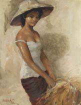 Raden Basoeki Abdullah (Indonesian, 1915-1993) A young woman holding a basket