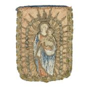 A 16th century banner applied with figures of the virgin and child Probably Italian