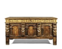 A late Elizabeth I carved oak and fruitwood marquetry coffer Late 16th/early 17th century