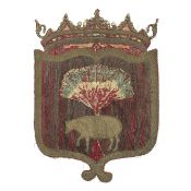 A shield shaped armorial of crimson silk 17th century, possibly French