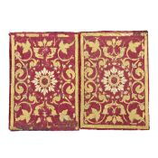 A set of four panels of crimson silk with applied woven yellow silk and blue and cream silk embro...
