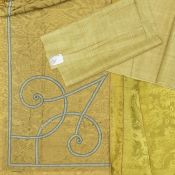 A yellow green silk damask panel Italian or French, early 18th century
