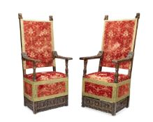 A pair of Italian carved walnut armchairs 17th century (2)