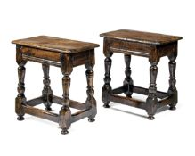 Two oak joint stools 17th century and later