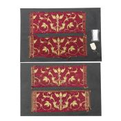 Four border panels of crimson silk Italian or Spanish, early 17th century ((2))