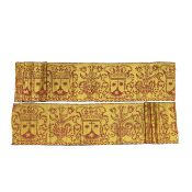 A deep border of red and yellow woven silk Spanish, early 17th century