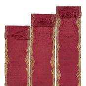 A pair of pilaster panels of crimson silk Mid-18th century, probably Italian ((12))