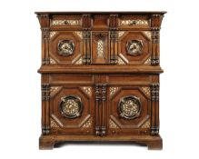 A documented 17th century oak and walnut enclosed chest-of-drawers