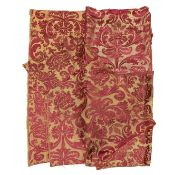 A pelmet of 17th century red and cream silk and linen brocatelle ((Qty))
