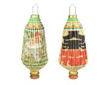 A pair of Japanese painted linen lanterns