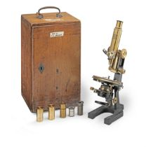 A Carl Zeiss 'Jug Handle' Compound Monocular Microscope, German, early 20th century,