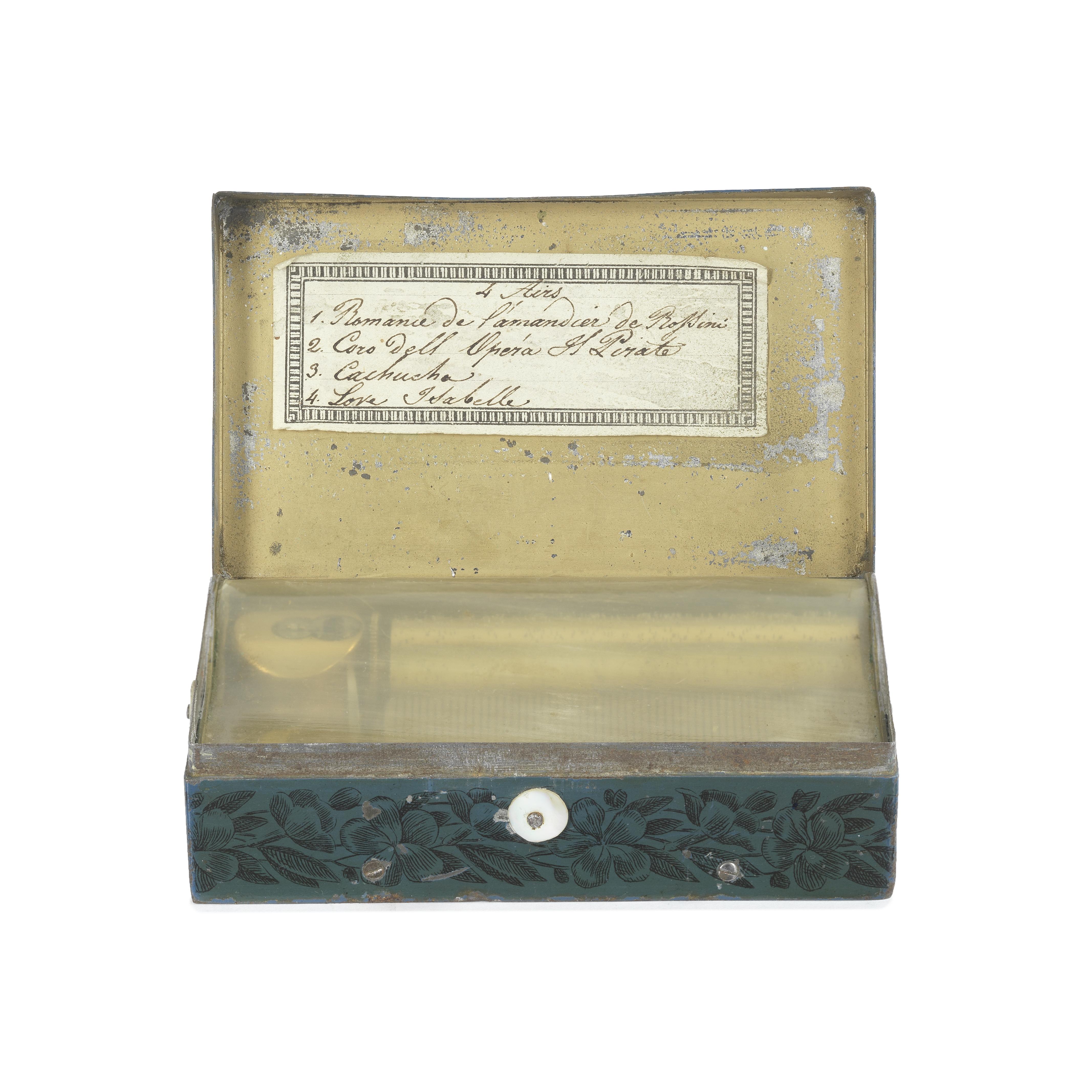 A tin-plate musical box, Swiss, circa 1835,