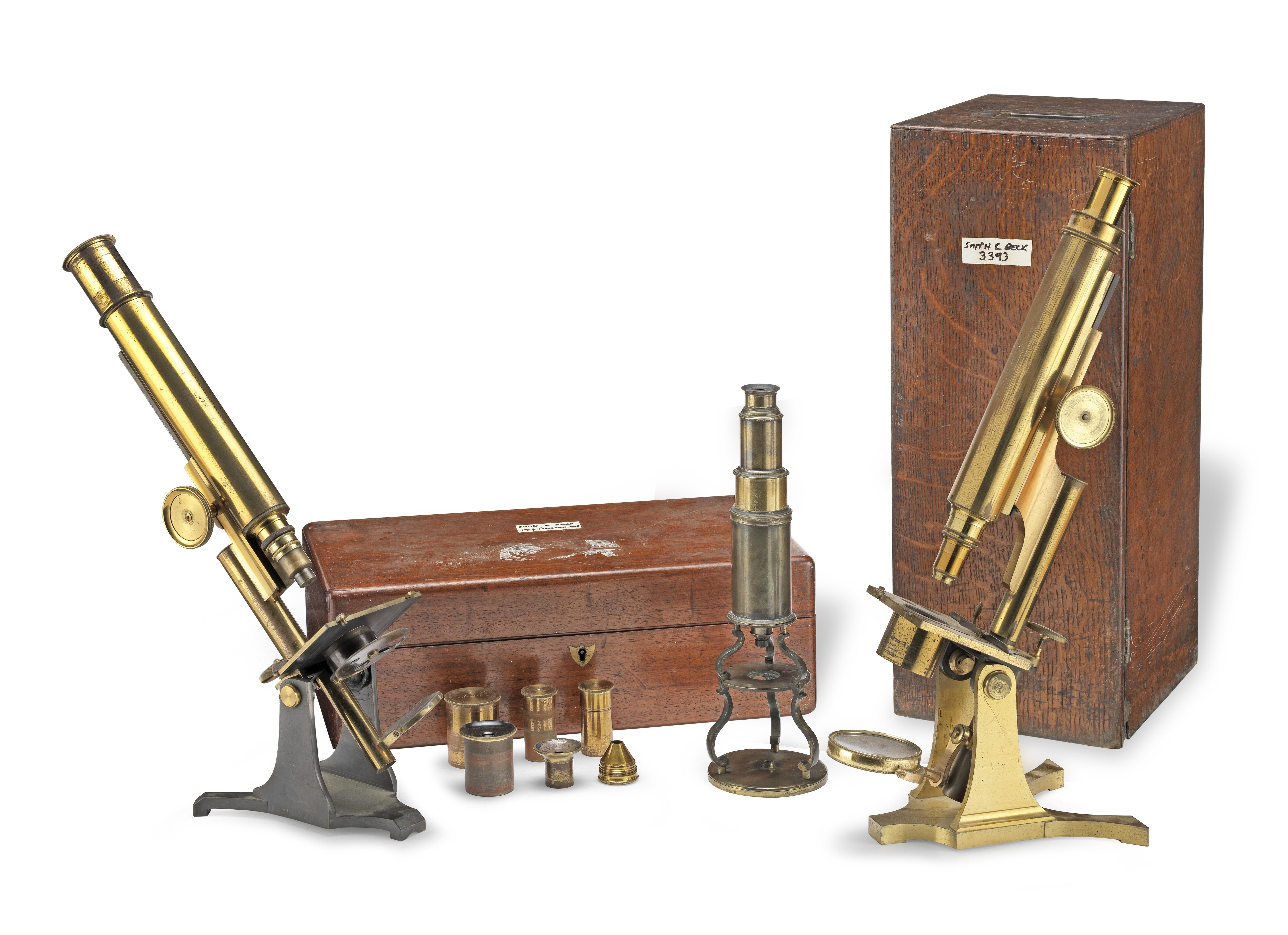 Three Compound Monocular Microscopes, English, 19th century, (3)