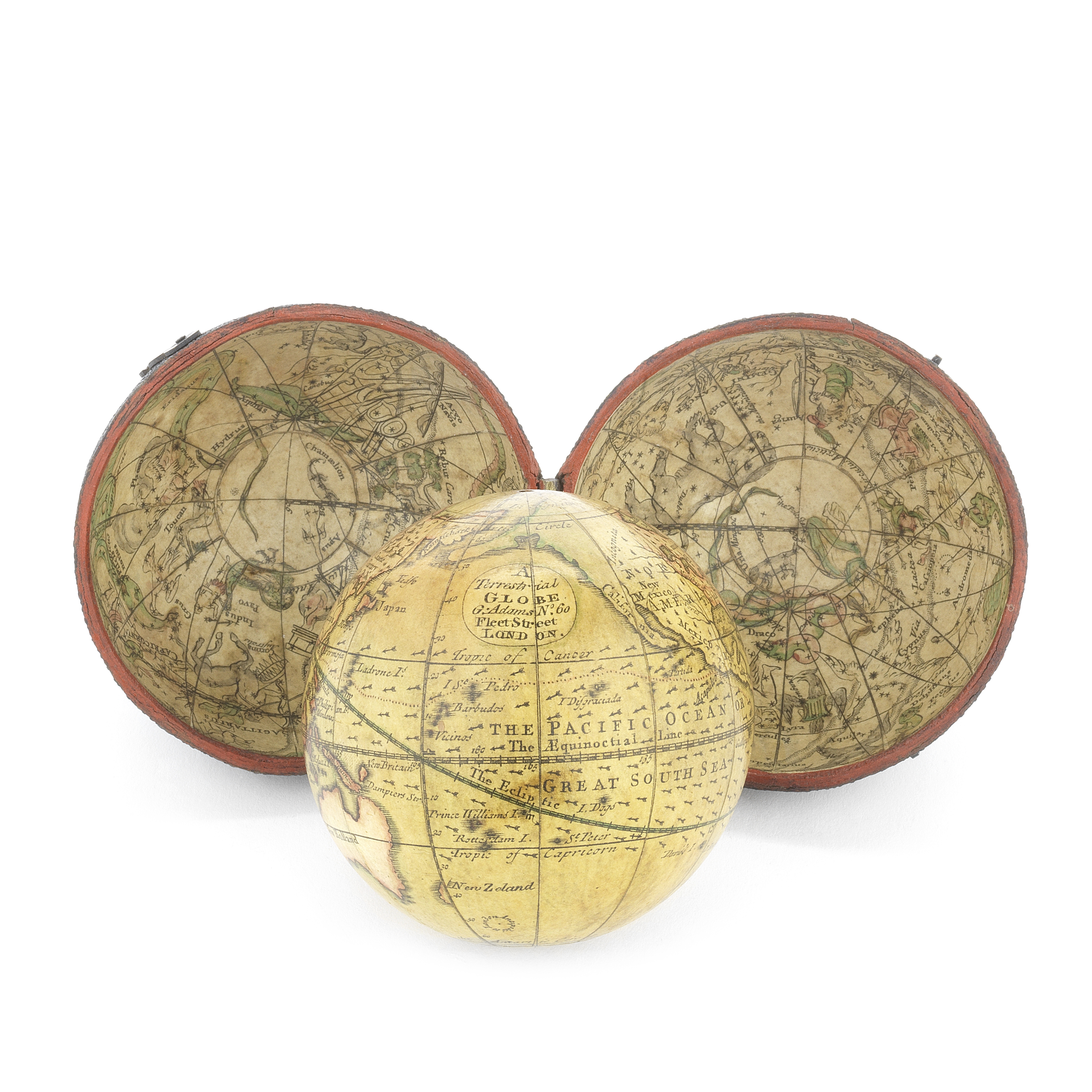 A George Adams 2 ½-inch pocket globe in case, English, circa 1770,