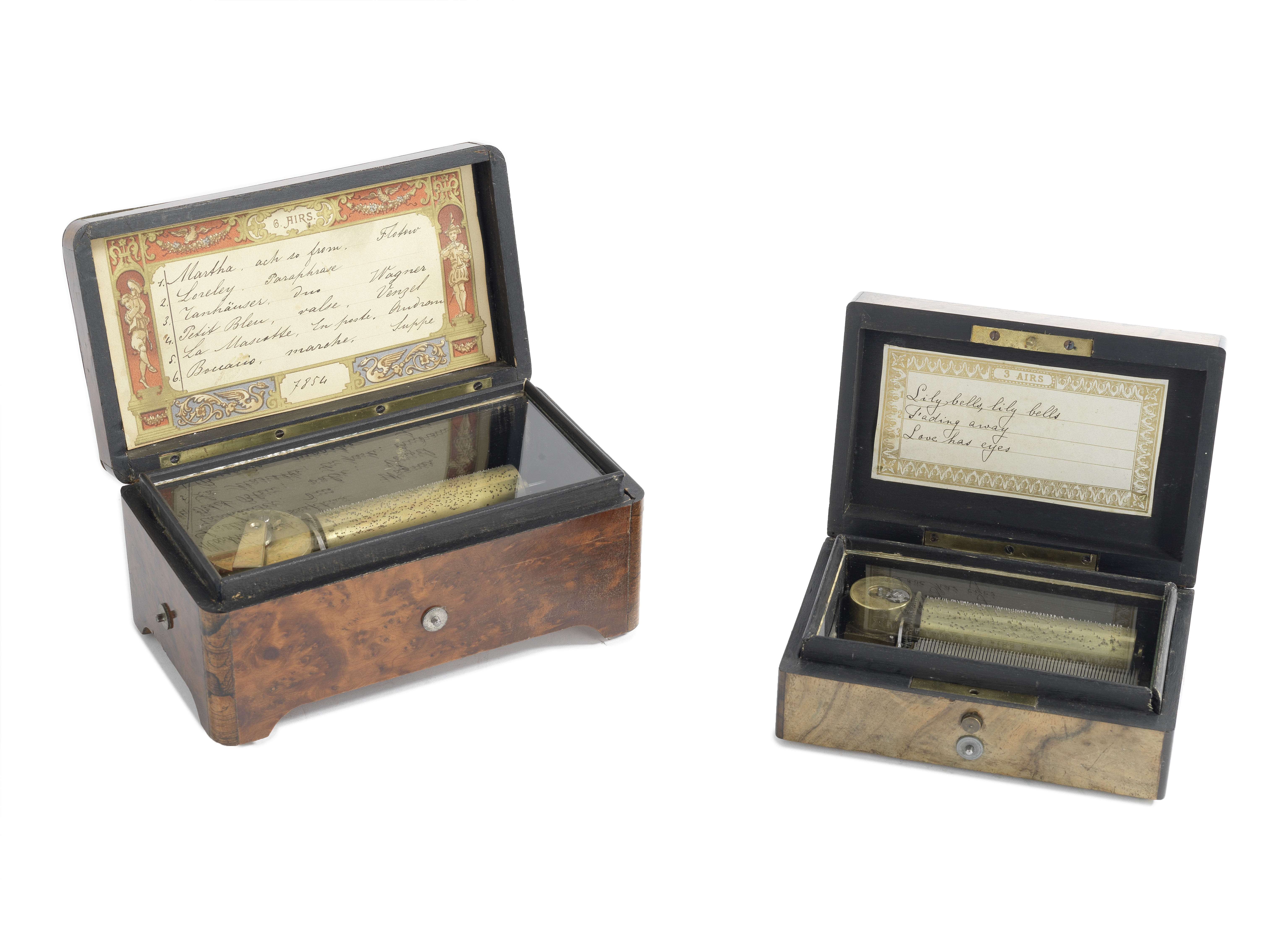 Two Small Cylinder Musical Boxes, Swiss, circa 1900, (2)