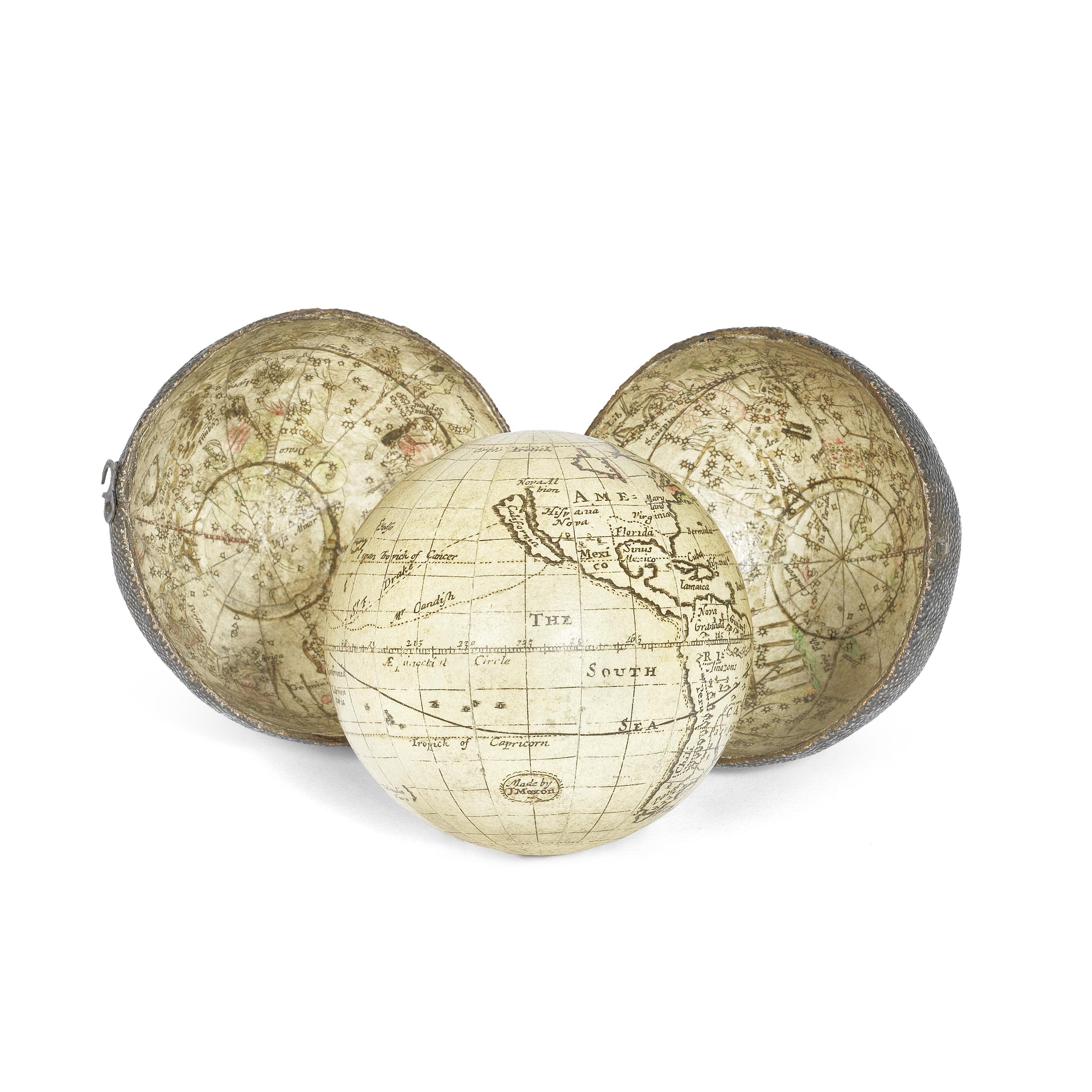 A very rare Joseph Moxon 2 ¾-inch pocket globe, English, circa 1675,
