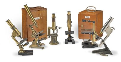 A Collection of Six Monocular Microscopes, late 19th and early 20th century, (6)