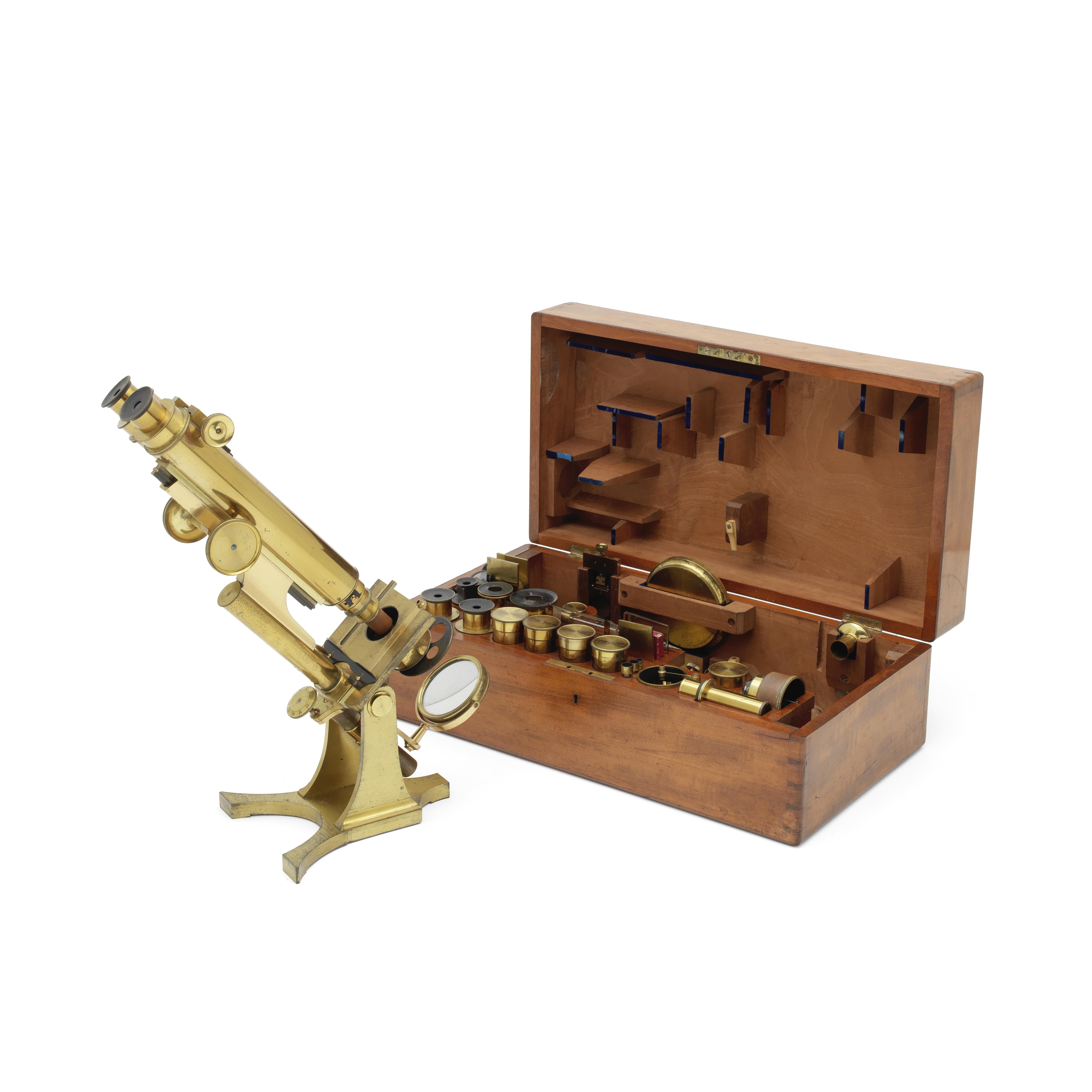 A Smith & Beck Brass Compound Binocular Microscope English, circa 1870,