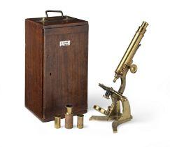 A J. White Brass Compound Monocular Microscope, British, mid 19th century,
