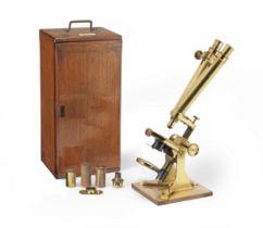 A Baker Binocular Compound Microscope, English, late 19th century,