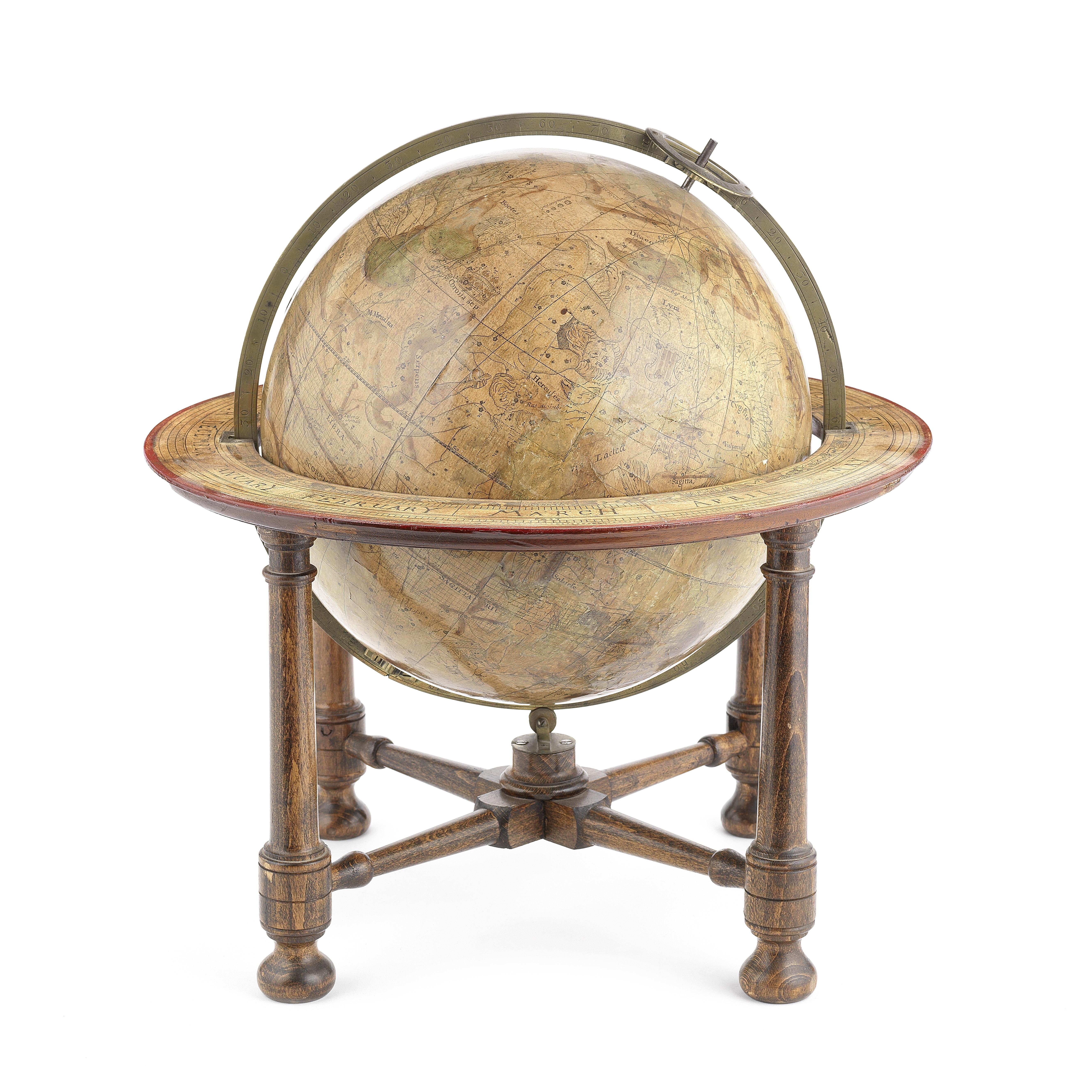A Benjamin Martin/John Senex 12-inch celestial table globe, English, third quarter of the 18th ce...