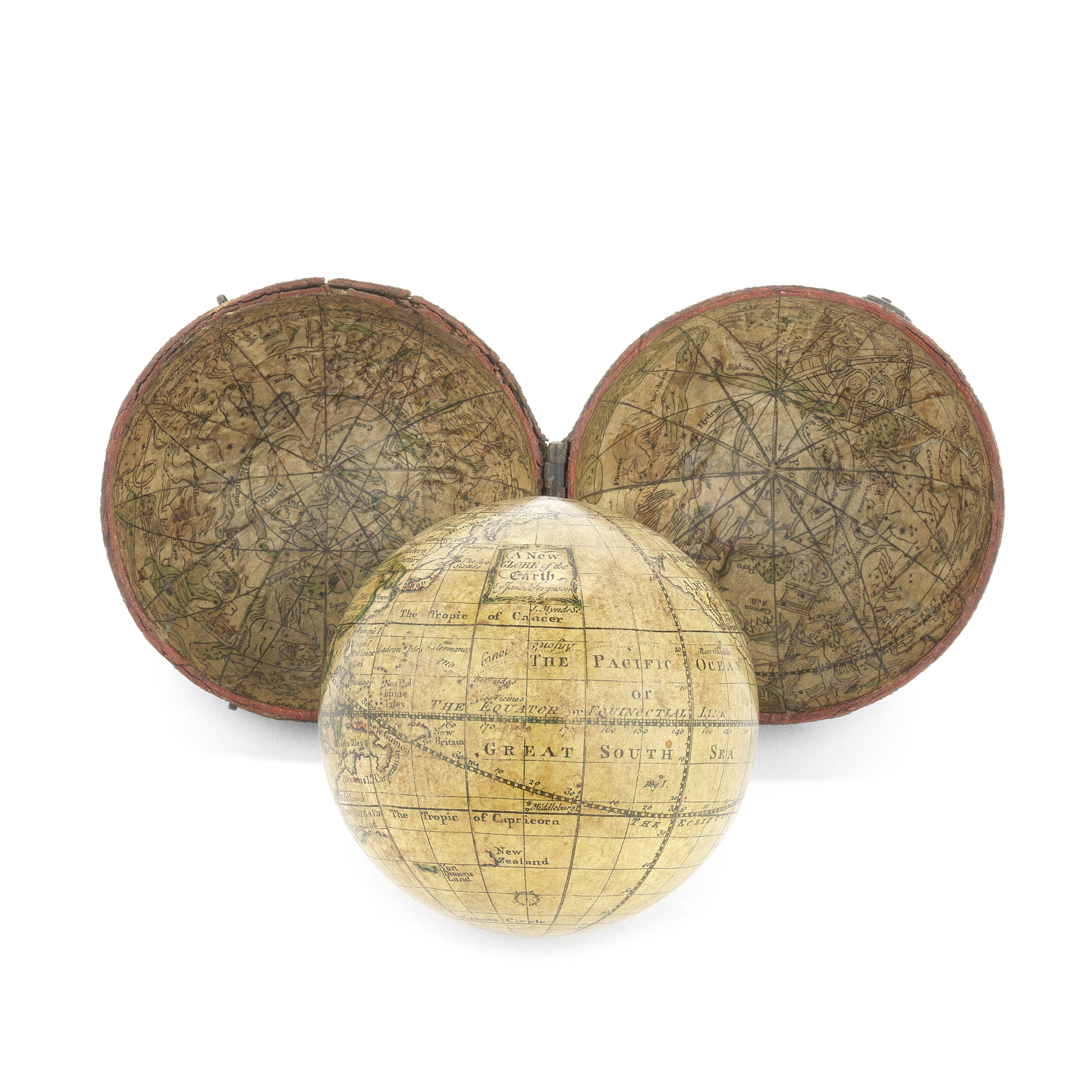 A James Ferguson 2 ¾-inch pocket globe in case, English, circa 1756,