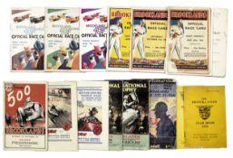 Fifteen 1930s BARC Brooklands Official Race Cards and race programmes, ((19))