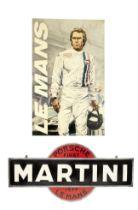 A 'Steve McQueen - Le Mans' painting on canvas, and a 'Martini Porsche Le Mans 1977' garage displ...